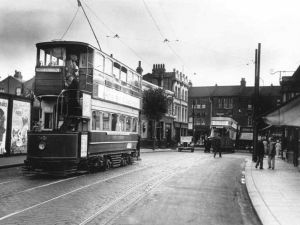 Old style photo of tram