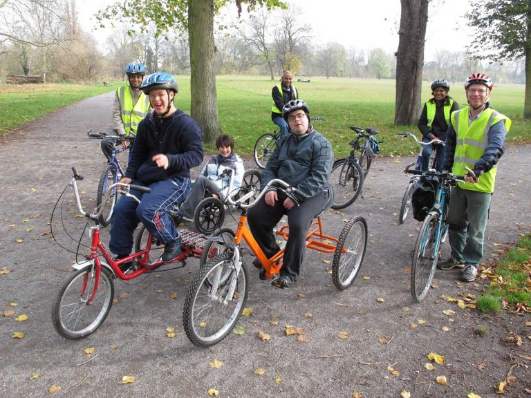 Cyclists in a park